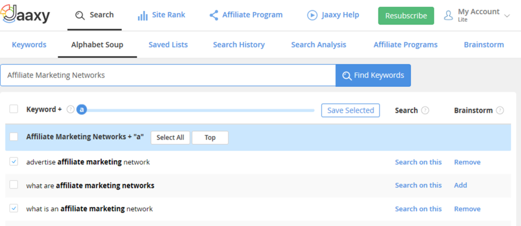 Jaaxy Keyword Tool Review 2020 - Jaaxy Alphabet Soup Search Results