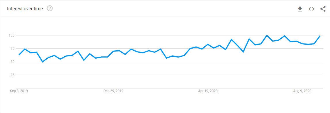 Finding My Niche Market - Google Trends Line Chart